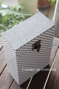 蓋を開けると仕切り付スタンドBOX(ワイドバージョン) - ichimiereカルトナージュと手づくりの時間