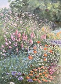 咲き誇る花たち - まり子の水彩画