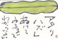 そら豆「開けてみるまで分からない」 - ムッチャンの絵手紙日記
