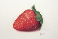 「一粒の苺」です。 - 大畑悦子の想い出ペインティング