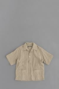 HAVERSACK Patchwork Pullover Open Collar Shirt (Beige) - un.regard.moderne