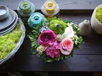 父の日のアレンジメント。「明るく」。西野3条にお届け。2020/06/20。 - 札幌 花屋 meLL flowers
