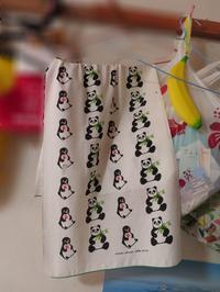 ペンギンさんとパンダさんの手ぬぐい - 一日一生