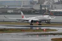 2019年11月羽田遠征 その18 JAL A350-900 シルバーの着陸 - 南の島の飛行機日記