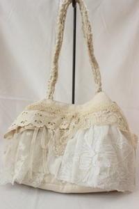 アンティークレースと裂き布のバック - Petit mame