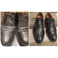 雨シミクリーニングから仕上げまで - シューケアマイスター靴磨き工房 三越日本橋本店