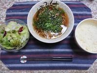 6/28夜勤前飯 めかぶおくらそば定食@自宅 - 無駄遣いな日々
