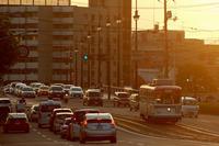 夕陽に包まれる元神戸市電 - まずは広島空港より宜しくです。