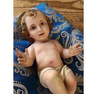眠る幼子キリスト像 25cm 大きな瞳 生誕 ネイティビティ/H075 - Glicinia 古道具店