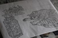 猫と静物 - 絵と庭
