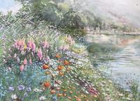 水辺の花 - まり子の水彩画