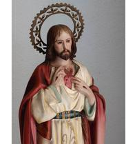 聖心のイエスキリスト像 56cm グラスアイ /H162 - Glicinia 古道具店