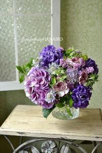 お誕生日のお祝いにアンティークあじさいを使った花束。 - 花色~あなたの好きなお花屋さんになりたい~