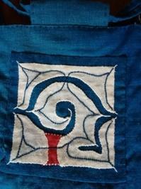 アイヌ刺繍の巾着ショルダー - 藍ちくちく日記