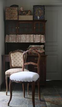 フレンチアンティーク 椅子 赤 2つのイニシャル刺繍 ダマスク - clair de lune