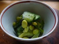 枝豆、きゅうり、小松菜のピリ辛和え - LEAFLabo
