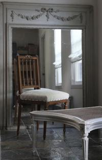 フレンチアンティーク 椅子 リボンチェア 生成りのベルベット アンティークチェア - clair de lune