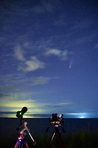 ネオワイズ彗星と漁火光柱 - 四季星彩