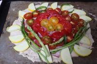 ミニトマトとアスパラでピザ - 二つの台所