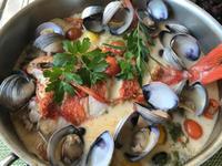 金目鯛のアクアパッツァ&お刺身サラダ - やせっぽちソプラノのキッチン2