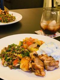 ジャークチキンとレンティル 豆サラダ、ラタトゥユ - bluecheese in Hakuba & NZ:白馬とNZでの暮らし