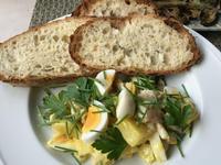 鯵の干物入りポテトサラダ&ケールチップス - やせっぽちソプラノのキッチン2