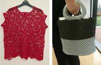 モチーフ&バッグ♪お客様作品2020.8月 - 空色テーブル  編み物レッスン