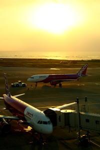 2機のピーチ~夕日をバックに~ - 南の島の飛行機日記