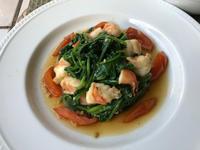 海老とほうれん草のテインバレス&ひよこ豆のサラダ&桃のヨーグルトスープ - やせっぽちソプラノのキッチン2