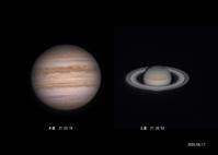 8月17日の木星、土星 - お手軽天体写真