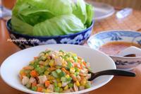 高原レタスと夏野菜の一品 - まほろば日記