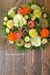 トルコキキョウ「ボヤージュゴールド」を使ったフラワーアレンジメント。 - 花色~あなたの好きなお花屋さんになりたい~