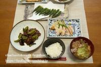 夏野菜の生姜焼き御膳&朝ごはんは、とろろ蕎麦 - おばちゃんとこのフーフー(夫婦)ごはん