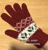 花・かご模様(赤)の手袋♪ - 笑う門には福来たる