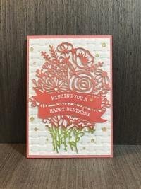 華やかな花束の誕生日カード…ピンクバージョン - 胡桃っ子の家