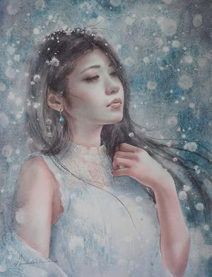 作品☆F6号「雪女」 誕生日☆ - デルフトブルー☆