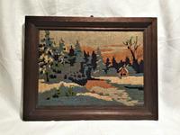 クロスステッチの風景画入り木製額997 - スペイン・バルセロナ・アンティーク gyu's shop