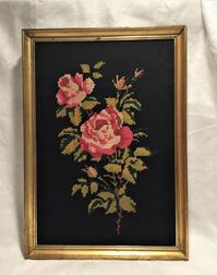 クロスステッチバラの刺繍画入り木製金彩額998 - スペイン・バルセロナ・アンティーク gyu's shop