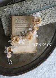 布花**エクリュ色の丸バラ髪飾り・ドール飾りにも - 布の花~花びらの行方 Ⅱ