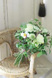 9月Living flowerクラス『White&Green bouquet !』 - Le vase*  diary 横浜元町の花教室