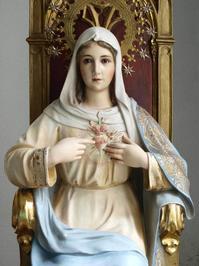 聖心の聖母マリア 坐像 76.5cm 金彩の装飾  /H246 - Glicinia 古道具店