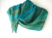 粒々模様の三角ショール@棒針編み - 空色テーブル  編み物レッスン