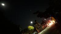 満月と踏切 - 比売河線 藍沼駅(ひめかわせん あいぬまえき)