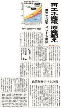 再エネ発電 原発超え/  東京新聞 - 瀬戸の風