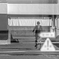 自転車通勤 - モノクロ写真をアップする!