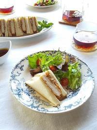 乃が美の「生」食パンで♪ チキンカツとごぼうサラダのサンドイッチ - キッチンで猫と・・・