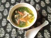 春雨と青梗菜と挽き肉の中華風スープ - Minha Praia