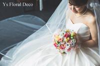 ミックスカラーのクラッチブーケアーティフィシャルフラワー - Ys Floral Deco Blog