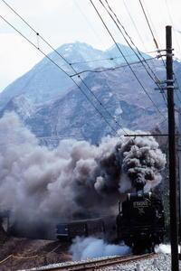 ばくばくの黒煙と武甲山と旧型客車- 1988年・秩父鉄道 - - ねこの撮った汽車