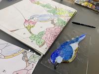 薔薇のパネル鳥の色見 - ステンドグラスルーチェの日常